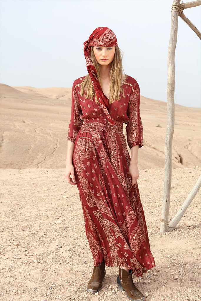 Miss June Dress Nomad in Burgundy