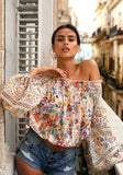 Miss June Floral Embroidery Off The Shoulder Top | Miss June