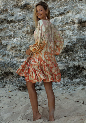 Ombre DRESS JODIE WITH GOLD LUREX PRINT