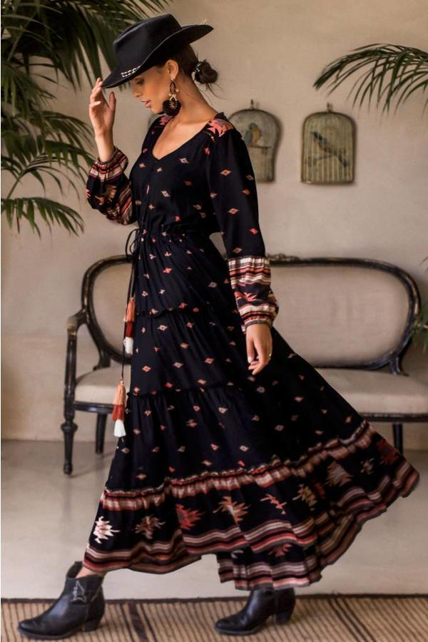 Boho Maxi Dress Anatolia in Black Print