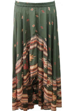 Miss June high low skirt Billie in Aztec Print Green