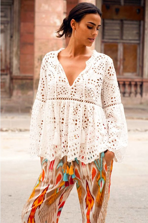Miss June Embroidered Top Lyla in White