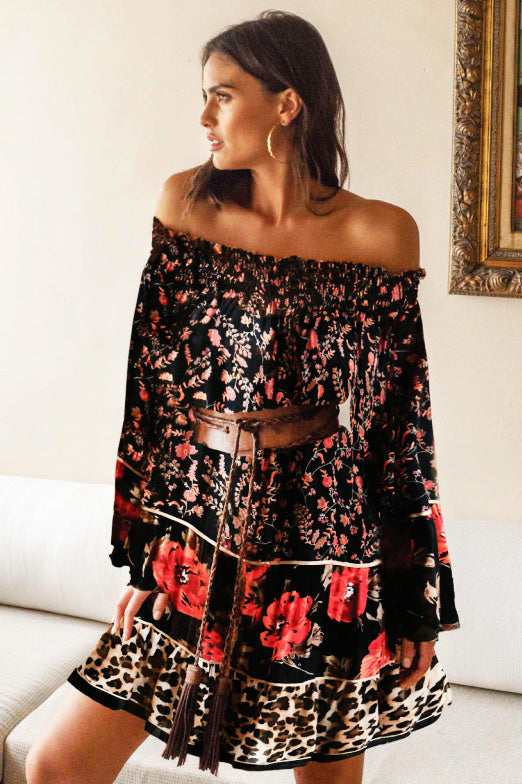 Off the shoulder Contrast Print mini Dress shelby