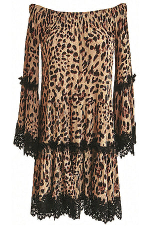 Off shoulder Animal Print dress Leela