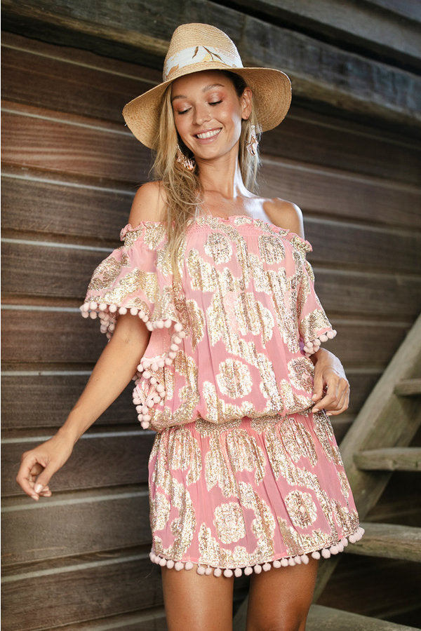 Miss June pompom short kaftan River in Pink