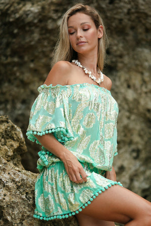 Miss June pompom short kaftan River in Turquoise