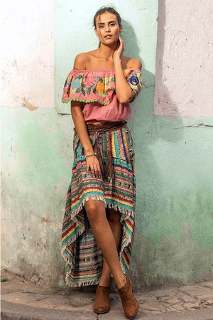 Ibiza style high-low skirt Pampa