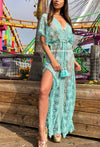 Maxi Lace Embellished Kaftan Monica in Aqua