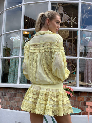 Moncur embroidered Dress in Lemon