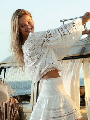 Miss June White Broderie Anglaise Off The Shoulder Top