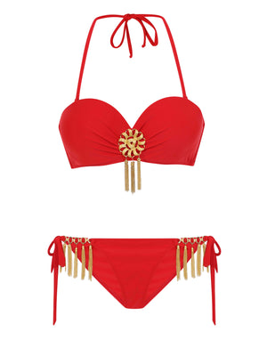 Moulin Rouge bandeau Bikini Top with removable gold broch
