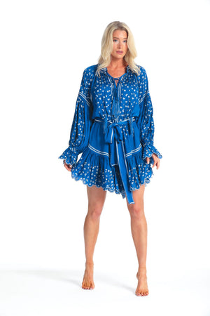 Pranella uk Silky Dress Preen in Cobalt & Silver leopard Print