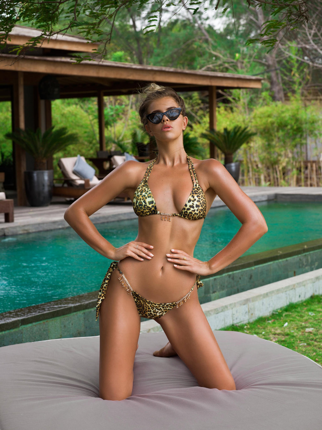 Triangle Bikini Top in Leopard Print