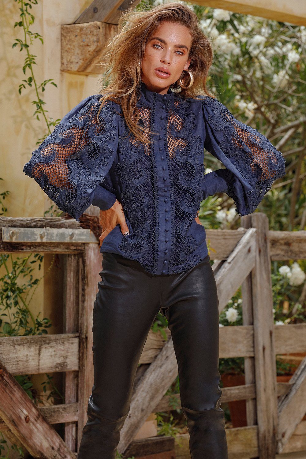 Ministry of style Victoriana Lace Blouse in Navy