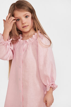 Sleeper Macaron Linen Kids Dress in Pink