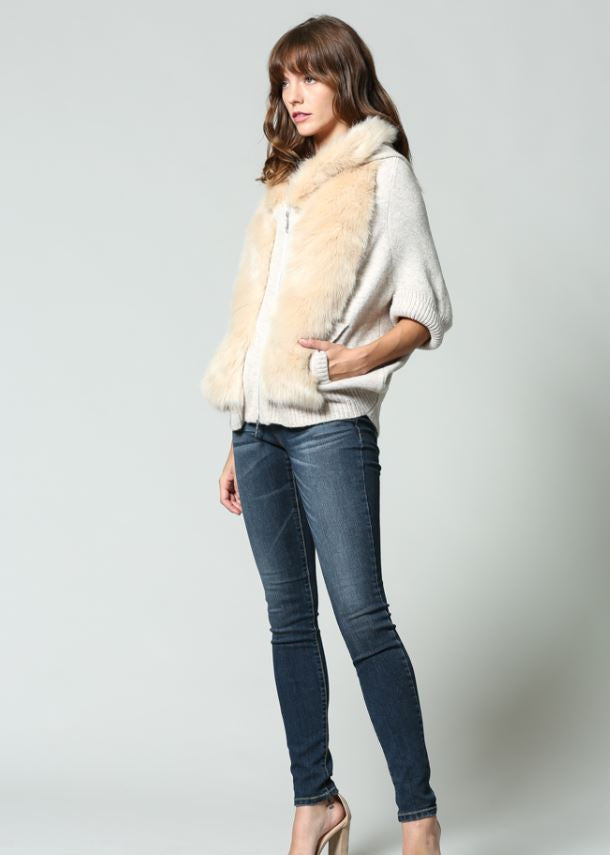 Dolman Sleeve Faux Fur Cardigan