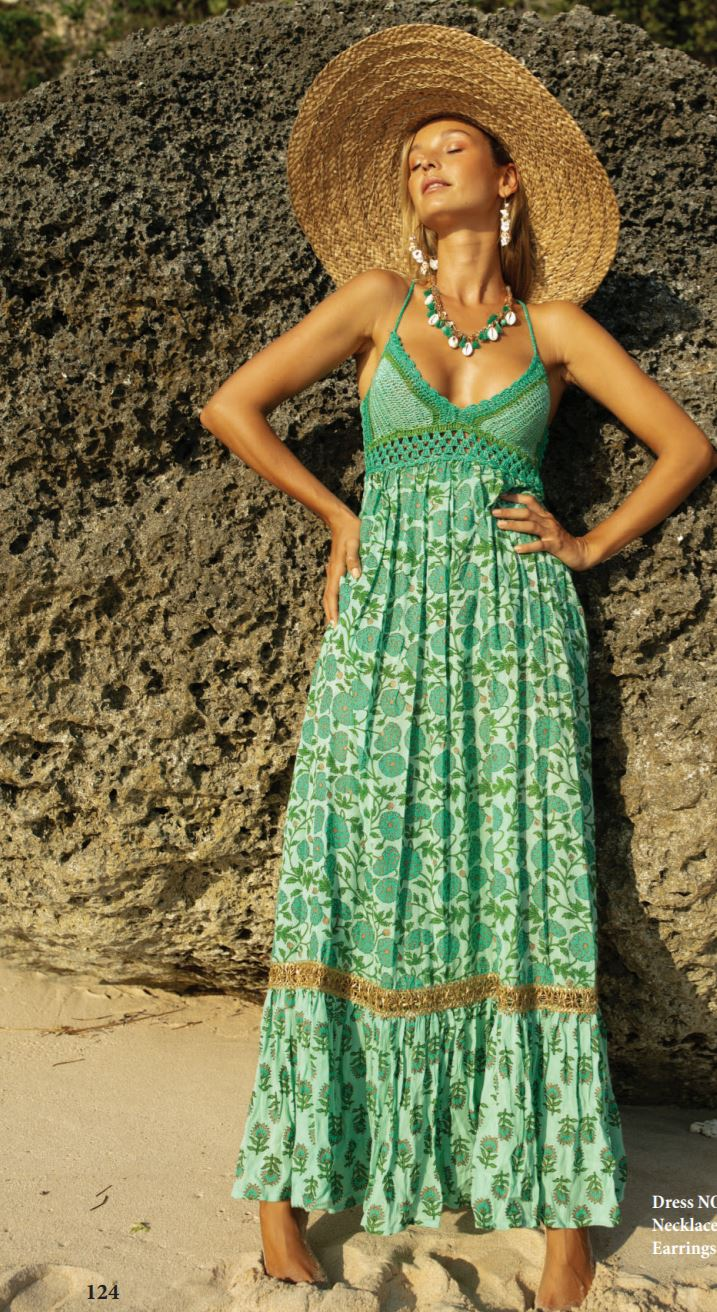 Miss June Print crochet bust Maxi dress Nolita in green print