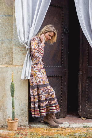 Lela Maxi Dress in Alba Print with crochet trim