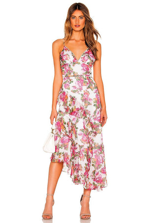Oblivion Midi Dress in white print