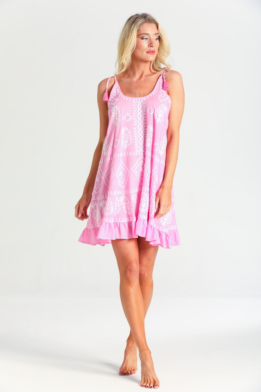 Olivia Embroidery slip Dress in Pink/White