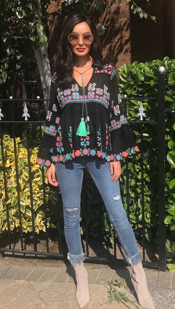 Luxe Flared Sleeve Embroidered Top Polly in Black multi