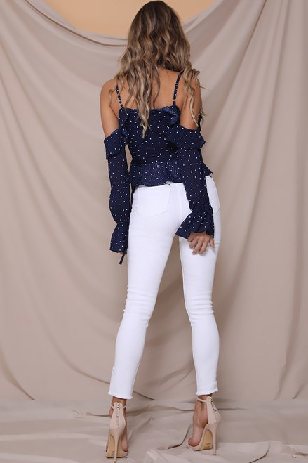 Navy Wrap Polka Dot Top Oui