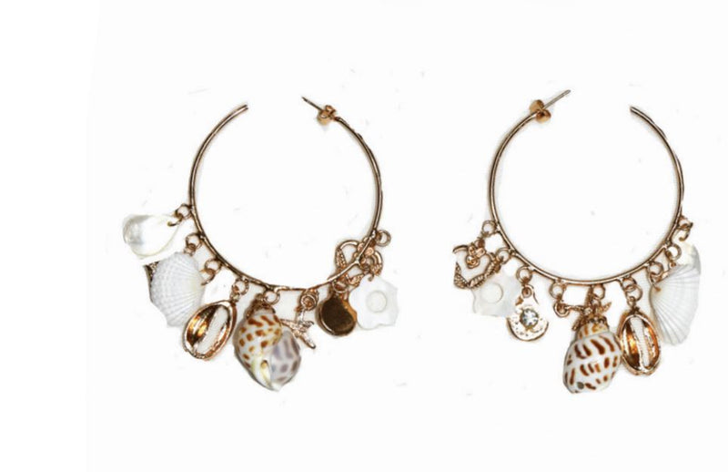Gold seashell hoop earrings