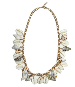 gold chain Necklace with mixed shells