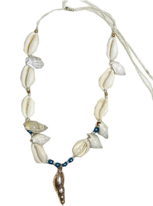 shell Necklace with Blue beads