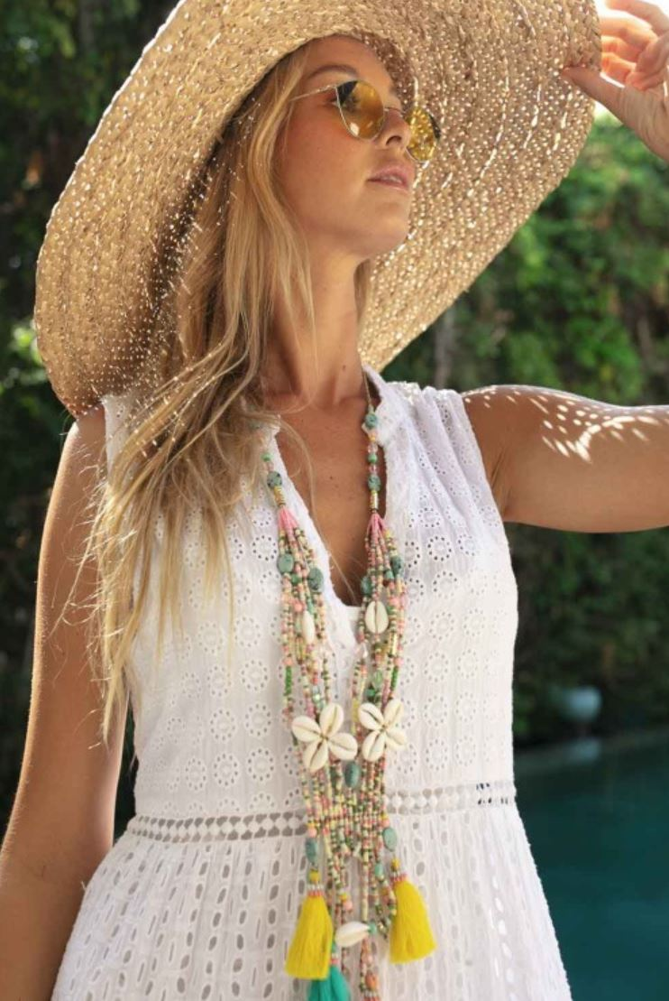 layered Flower Necklace with tassels