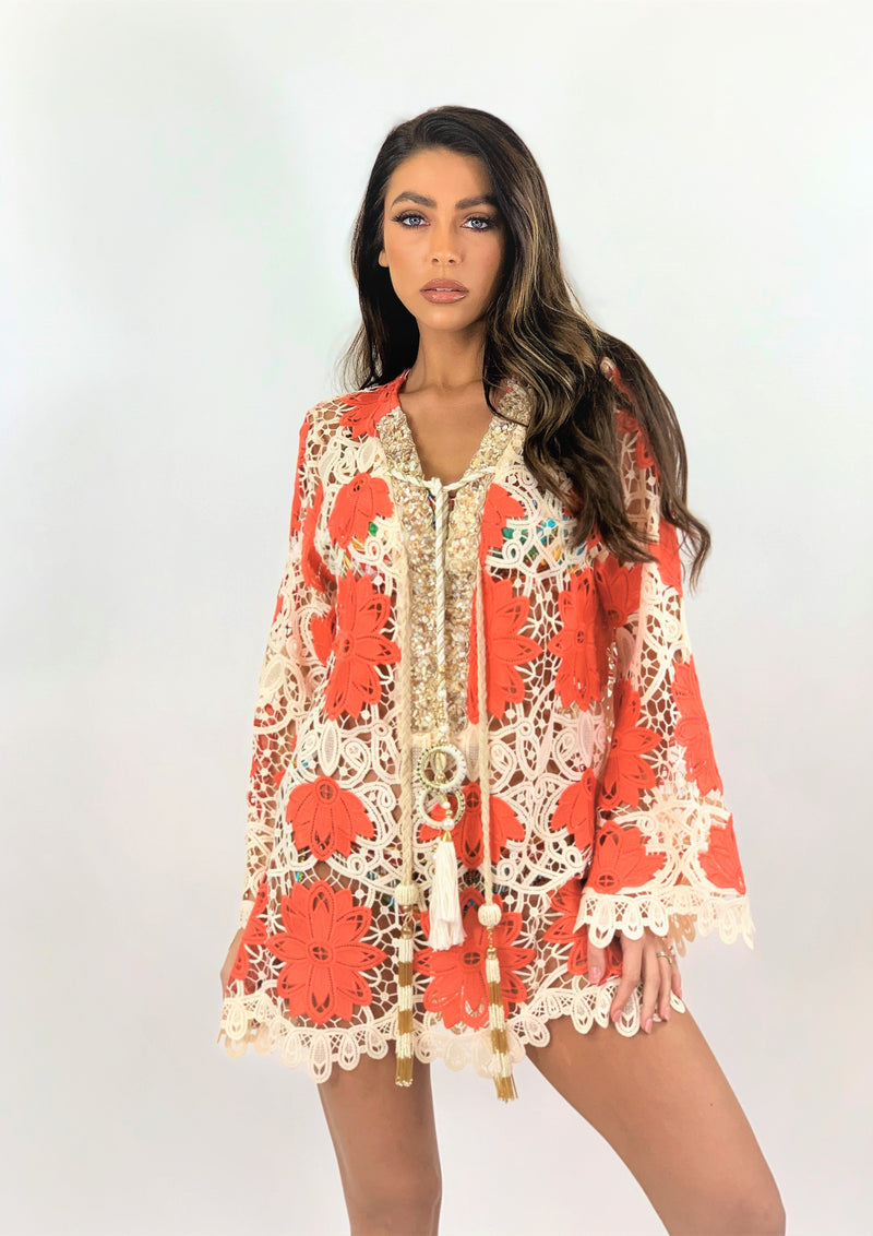 Crochet Kaftan Tunic Palm in Neon Coral