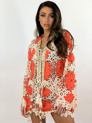 Laurie And Joe Crochet Kaftan Tunic Palm in Neon Coral