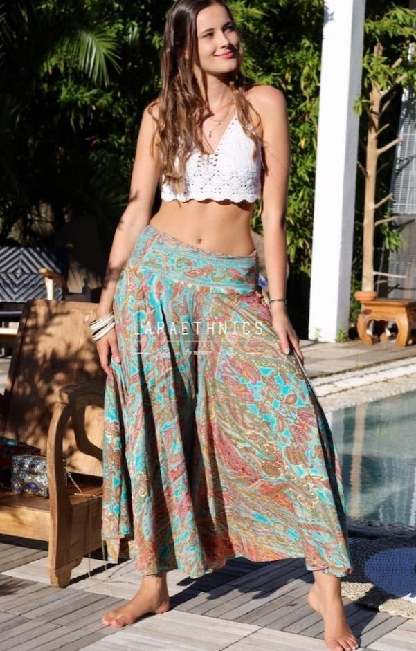 Palazzo Style Pants Pevinka in Yoga Turquoise Print
