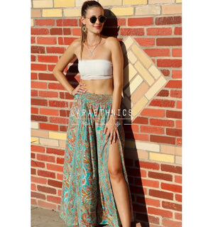 Palazzo Style Pants Tulin With Side Slits in Yoga Turquoise Print