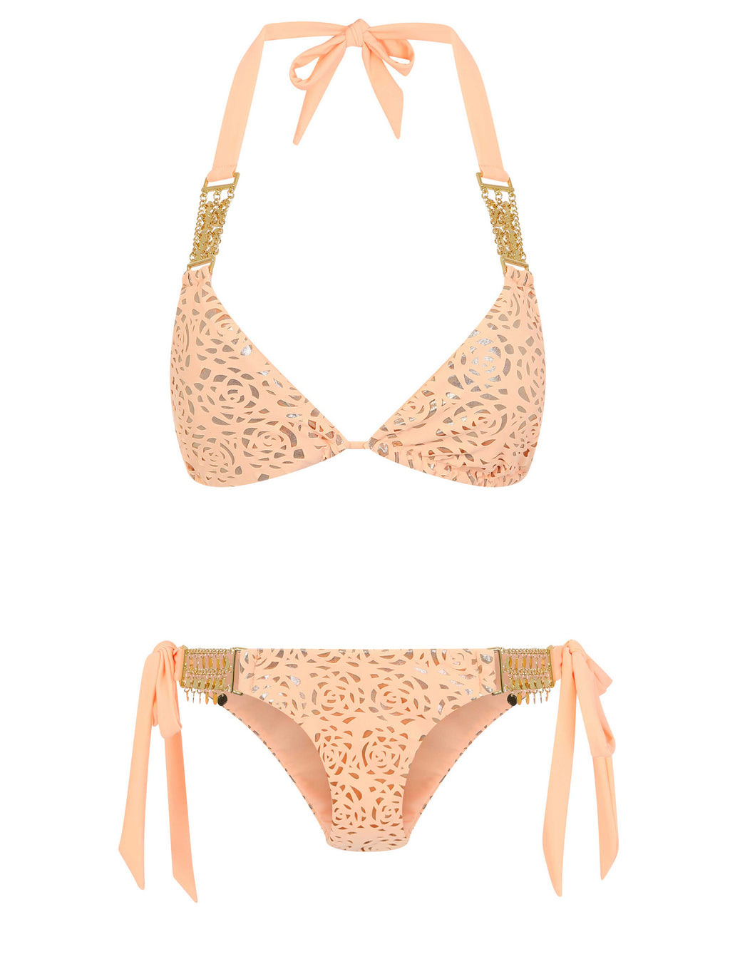 Peach / Gold side tie Bikini bottom