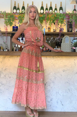 Bandeau Luxe Maxi embroidery Dress  Miami in Peach/Gold