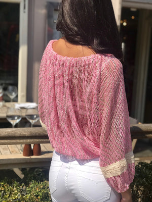 Shimmer Shells Top in Pink