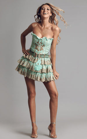 Bandeau dress RIVIERA in sea foam green
