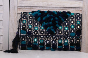 Pompom & Embroidery Clutch