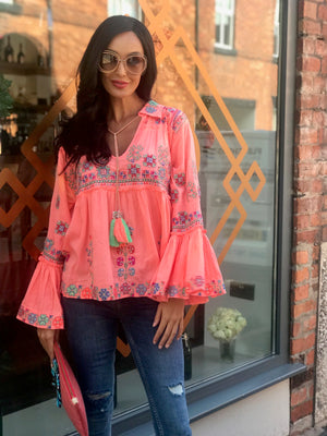 Neon Peach Luxe Flared Sleeve Embroidered Top Polly