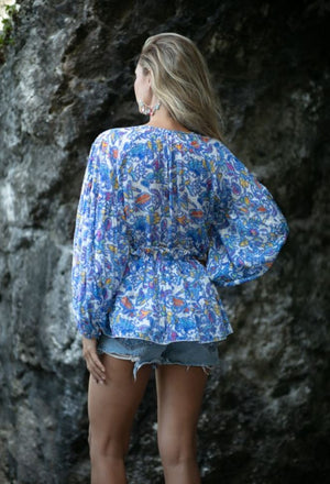 Bohemian Chic Top Prince in Blue print