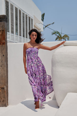Salsa Maxi Bandeau Dress in Rhodium Print
