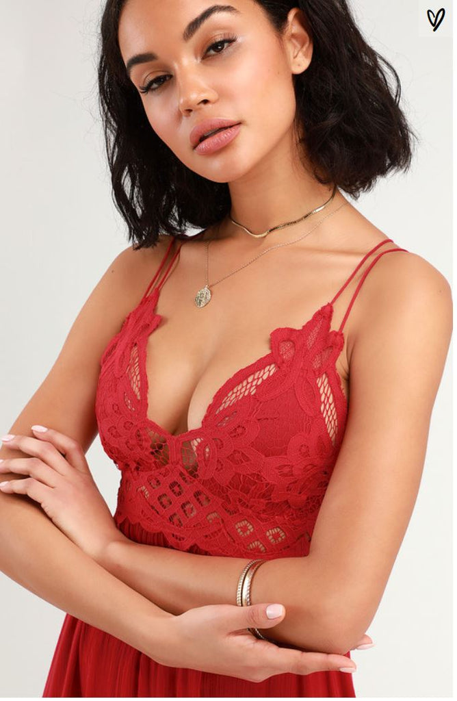 Free People Adella Slip Dress in Red