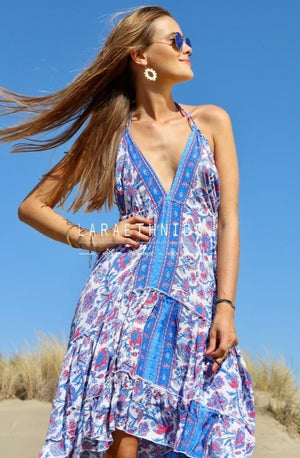Halter Neck Hi Low Dress Fleur in Lotus Blue Print