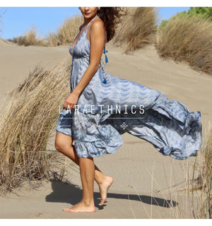Halter Neck Hi Low Dress Fleur in Surf Blue Ocean Print
