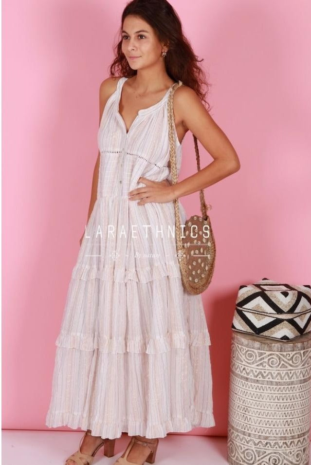Grecian Style Maxi Dress Fresia in Ivory Lurex