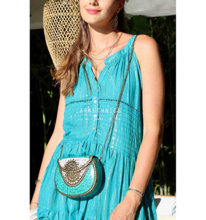 Grecian Style Maxi Dress Fresia in Emerald Lurex