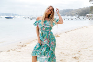 Off Shoulder Dress Romi in Wilder Print