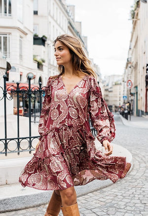 DRESS Sierra WITH GOLD LUREX PRINT in Burgundy