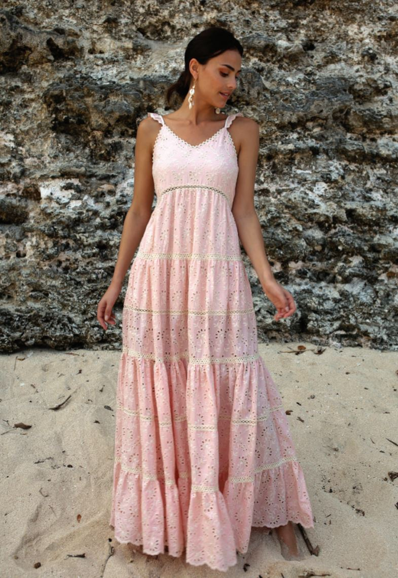 French Lace Maxi Dress in Pink